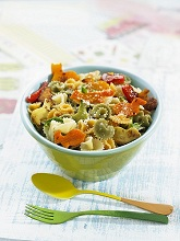 Colourful pasta with vegetables and parmesan