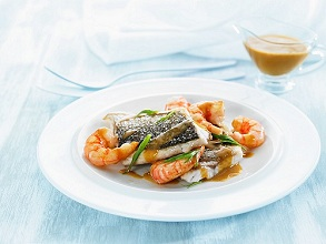 Bass with prawns