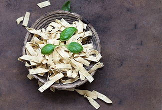 Herb tagliatelle with basil