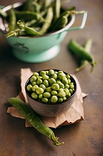 Fresh organic peas and pods