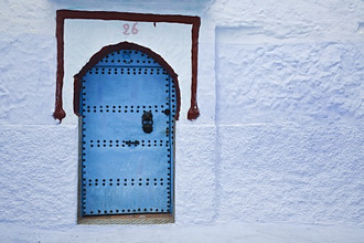 Blue doorway, Chefchaouen, Morocco, North Africa, Africa