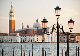 Traditional Venetian lamp with San Giorgio Maggiore in the background, Venice, Veneto region, Italy