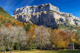Autumn landscape in Ordesa and Monte Perdido National Park, Huesca, Aragon, Spain