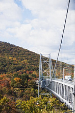 Truck crossing bridge, USA, USA, New York State, Bear Mountain