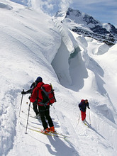 Alpinists, Piz Pal?, Bernina group, Lombardy, Italy