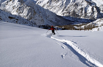 Skier on Monte Giobert, Piedmont, Italy