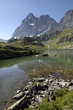 Mount Viso and Superiore lake, Crissolo, Po valley, Cuneo, Piedmont, Italy, Europe