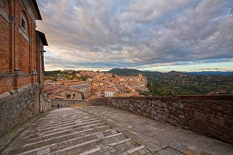 Cityscape ay sunset from Porta Pesa steps, Perugia, Umbria, Italy, Europe