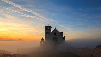 Basilica of St. Francis at sunset, Assisi, Umbria, Italy, Europe