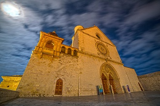 View of St. Francis Basilica, Assisi, Umbria, Italy, Europe