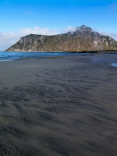 Europe, Norway, Lofoten, Skagsanden beach, one of the top most scenic beaches in Lofoten Islands, with low tide