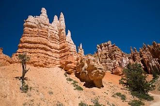 USA, Utah, Bryce Canyon National Park. The major feature of the park is Bryce Canyon, which despite its name, is not a canyon, but a collection of giant natural amphitheaters along the eastern side of the Paunsaugunt Plateau