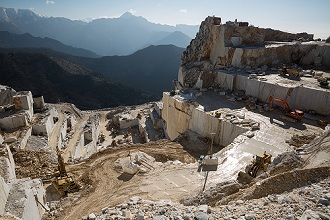 Carrara, Marble Quarries, Carrara marble is a type of white or blue-grey marble of high quality, popular for use in sculpture and building decor, Tuscany, Italy, Europe