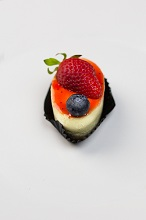cheesecake with strawberries and blueberries, Italy, Europe