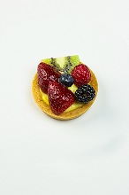 fruit pastry with strawberries, blackberries, blueberries and kiwi, Italy, Europe