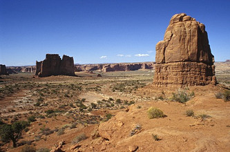 Natural stone arches, Arches national park, Utah, United States of America, North America