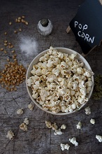 Popcorn in ceramic bowl,Lombardy,Italy