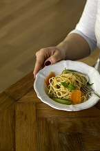Spaghetti with carrots, zucchini and peas,whole wheat pasta with carrots, zucchini and peas,Italy