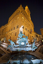 Neptune fountain and Palazzo Vecchio palace, Signoria square, Florence,Tuscany, Italy, Europe