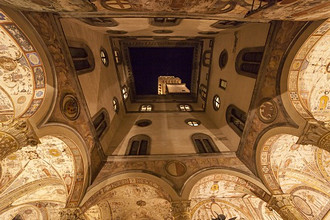 Palazzo Vecchio courtyard at night, Florence, Tuscany, Italy, Europe