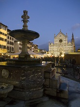 The Christmas market in Santa Croce square, Florence, Tuscany, Italy, Europe