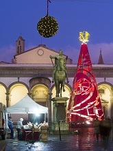 The Christmas tree in SS Annuziata square, Florence, Tuscany, Italy, Europe