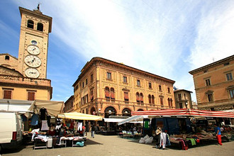 Traditional market, Tolentino, Marche, Italy, Europe