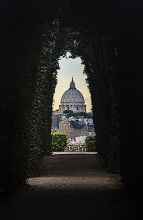 The Papal Basilica of St. Peter in the Vatican seen from the keyhole of a door, Rome, Lazio, Italy
