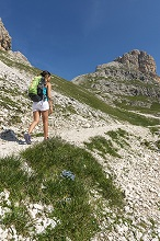 Hiker on his way to the Principe Pass along the trial n.584 from the Vajolet refuge, Fassa Valley, Dolomites, Trentino-Alto Adige, Italy