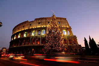 Colosseum with Christmas tree, Rome, Lazio, Italy