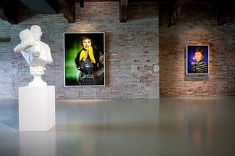 Works of Cindy Sherman and sculpture of Jeff Koons, , 53rd Biennial Exhibition of Modern Art, Venice, Veneto, Italy