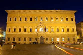 Farnese Palace, French Embassy, Farnese square, Rome, Italy