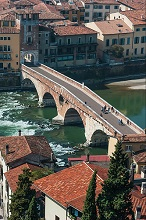 View of the Ponte Pietra bridge from Castel San Pietro, Verona, Veneto, Italy, Europe