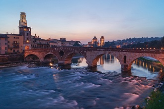 View of the Ponte Pietra at sunset, Adige river, Verona, Veneto, Italy, Europe