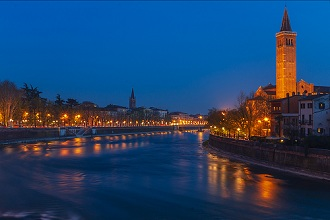 View of the bell tower of the Basilica of Santa Anastasia, Blue hour, Adige river, Verona, Veneto, Italy, Europe