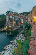 Seascape, Cinque Terre National Park, View of Riomaggiore, Ligury, Italy, Europe