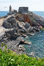 View of the Castle and the Church of San Pietro, Portovenere, Ligury, Italy, Europe