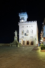Piazza della Liberta' square at night, San Marino, Republic of San Marino, Europe