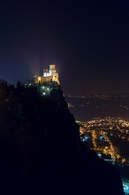 Guaita Fortress at night, First Tower, Monte Titano, Republic of San Marino, Europe