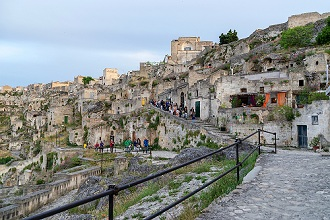Tourists visiting the Sassi of Matera, Basilicata, Italy, Europe