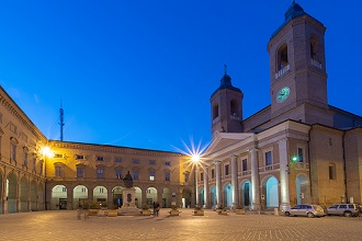 Old Town, Piazza Cavour square, Curia Archbishop church, Night view, Camerino, Marche, Italy, Europe
