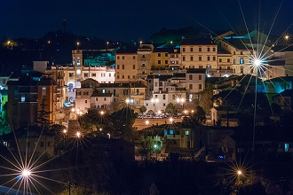 Night view of Polverigi, Marche, Italy, Europe