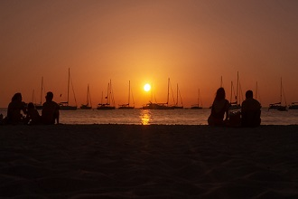 Cala Saona beach, Sunset, Balearis Islands, Formentera, Spain, Europe