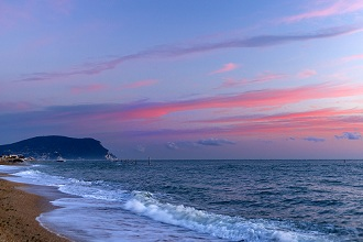 Seascape, View Monte Conero from Porto Recanati, Sunrise, Marche, Italy, Europe
