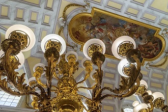 Precious chandeliers and frescoed ceilings, Royal Palace of Caserta, Reggia di Caserta one of the largest royal residences in the world, UNESCO World Heritage Site, Caserta, Campania, Italy
