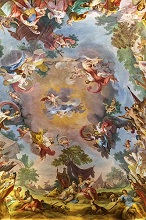 Frescoed ceilings, Royal Palace of Caserta, Reggia di Caserta one of the largest royal residences in the world, UNESCO World Heritage Site, Caserta, Campania, Italy