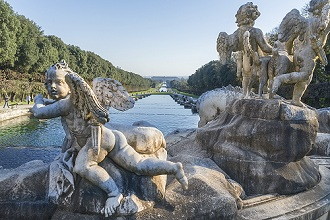 Royal garden of the Royal Palace of Caserta, Reggia di Caserta one of the largest royal residences in the world, UNESCO World Heritage Site, Caserta, Campania, Italy