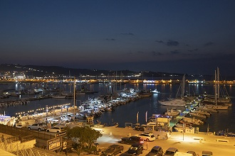 Night view of the Port of Vieste, Apulia, Italy, Europe