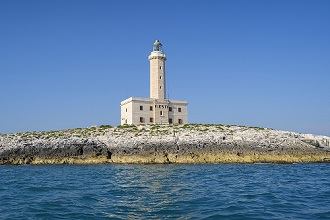 Seascape, View of the lighthouse from the sea, Vieste, Apulia, Italy, Europe