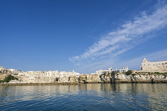 Seascape, View of Vieste from the sea, Apulia, Italy, Europe